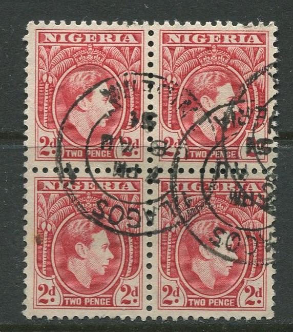 Nigeria -Scott 66 - KGVI Definitive - 1938 - Used - Block of 4 X 2p Stamps