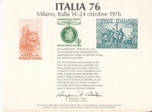 United States, Sc # SC52, MNH, 1976, Italia 76