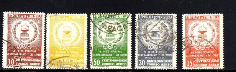 VENEZUELA #C701-C705  1959  EMBLEMS    F-VF USED