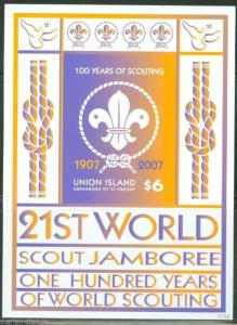UNION ISLAND  SCOTT#321  100 YEARS OF WORLD SCOUTING S/S MINT NH IMPERFORATED