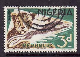 Nigeria-Sc#188- id5-used 3p Cheetah-Animals-1965-6-