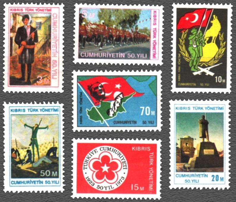 (Sc.1-7) 50th ANNIVERSARY OF REPUBLIC OF TURKEY MNH** SCV. 70.00