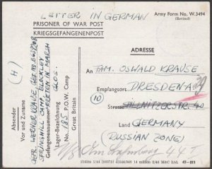 GB 1946 POW card Springhill Camp, Glos to Russian Zone Germany..............Q107
