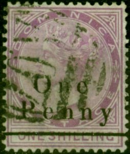 Dominica 1886 1d on 1s Magenta SG19 Fine Used