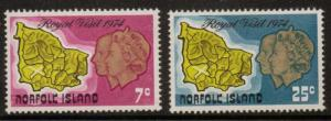 NORFOLK ISLAND SG149/50 1974 ROYAL VISIT MNH