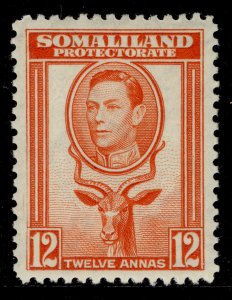 SOMALILAND PROTECTORATE GVI SG100, 12 red-orange, M MINT.