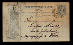 Austria 10KR Pneumatic Express Postal Card Used / Fold - L11325