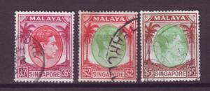 J21358 Jlstamps 1949-52 singapore used #15,19a,20a king perf 18