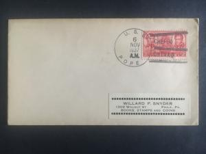 1937 US Navy Post Office Chefoo China Cover to USA USS pope