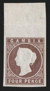 GAMBIA : 1874 QV Cameo 4d brown wmk Crown CC imperf. RARE MNH **.