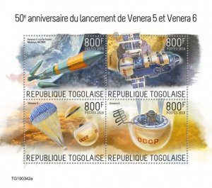 TOGO - 2019 - Venera 5 and Venera 6 - Perf 4v Sheet - MNH