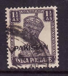Pakistan-Sc#5-used 1&1/2a dk purple KGVI-1947-