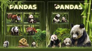 Z08 IMPERF MLD171004ab Maldives 2017 Pandas MNH ** Postfrisch