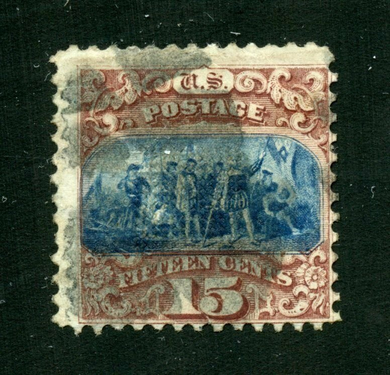 US 1869 PICTORIAL 15c COLUMBUS LANDING  SCOTT#118   USED CREASED WITH REP THINS
