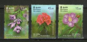 Sri Lanka 2020 Provincial Flowers Flora Plant 3v MNH # 790