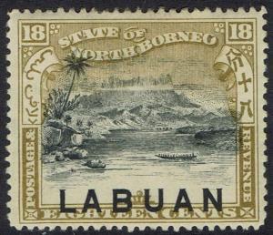 LABUAN 1897 MOUNT KINABALU 18C INSCRIBED POSTAGE & REVENUE OVERPRINT AT FOOT