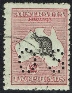 AUSTRALIA 1915 KANGAROO OS 2 POUNDS 3RD WMK CTO WITH GUM