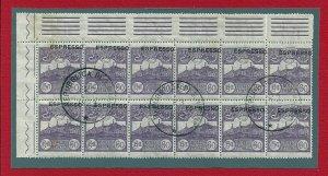 1923 San Marino, Ex. N° 2c Block Di 12 Used Varieties' Overprint High