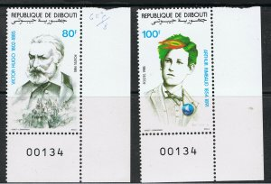 REPUBLIC OF DJIBOUTI 1985 VICTOR HUGO & ARTHUR RIMBAUD