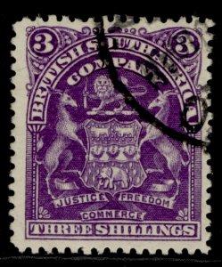 RHODESIA QV SG86, 3s deep violet, FINE USED.
