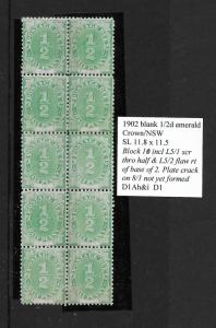 1902 1/2d postage due block 10 including 2 plated varieties