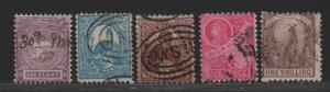 $New So. Wales Sc#77b, 78c, 79-80, 82, used, fine, part set, Cv. $29.60