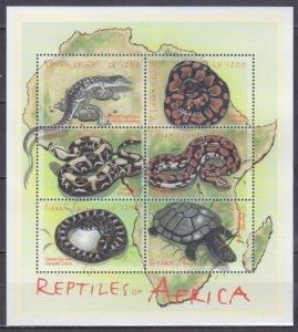 2001 Sierra Leone 3801-3806KL Reptiles 13,00 €