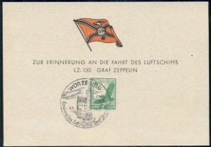 GERMANY 1939 SOUVENIR CARD FOR FLIGHT OF THE GRAF ZEPPELIN WURZBURG, VF