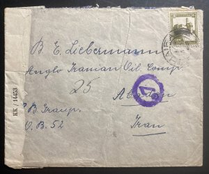 1945 Haifa Palestine Censored Cover To Anglo Oil Company Abaadan