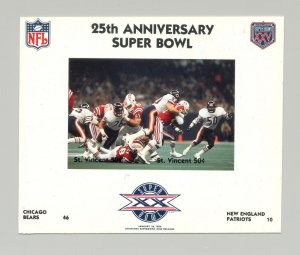 St Vincent #1419 Football Super Bowl XX 1v M/S of 2 Imperf Chromalin Proof