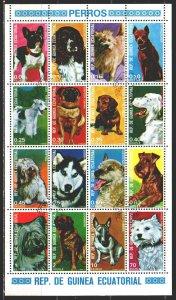 Equatorial Guinea. 1977. Small sheet 1054-69. Dogs. USED.