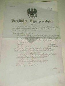 GERMAN   1878 HYPOTHEKEN BRIEF WITH SEAL