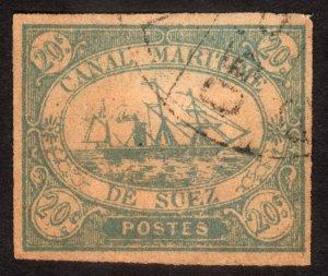 1868, Egypt Suez Canal 20c, Used, Sc L3