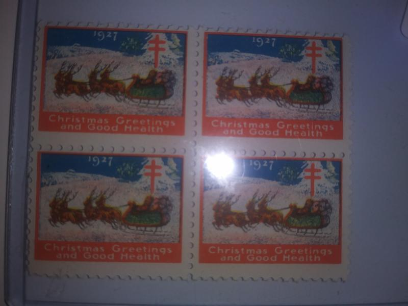 1927 CHRISTMAS SEALS BLOCK OF 4 NEVER HINGED GEMS !! GREAT FIND !!