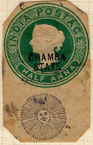 India - Chamba State - 1/2 anna Cut Square - some staining
