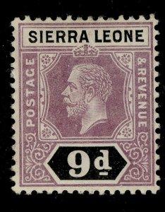 SIERRA LEONE GV SG121, 9d purple and black, LH MINT.