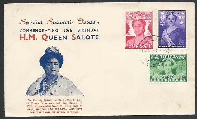 TONGA 1950 Queen Salote Birthday commem FDC................................88876