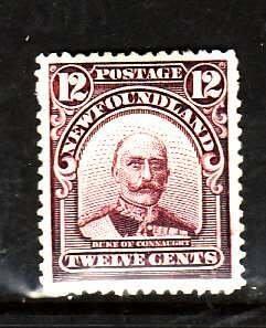 Newfoundland-Sc#113-unused hinged og 12c plum Duke of Connaught-1911--