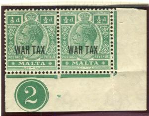 MALTA; 1917-18 early WAR TAX Optd. issue fine Mint hinged 1/2d. Control Pair