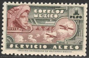 MEXICO C72, $1P EAGLEMAN AND AIRPLANES. MINT, NH. VF.