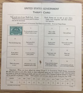 US WS1 Thrift Savings Stamp (Mounted in Card) 1917 SCV $7.50