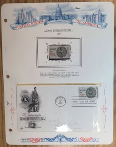 #1326 Lions International FDC and MNH Single in mount on souvenir page