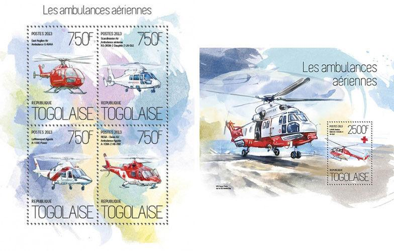 Ambulance Special Transport Medicine Red Cross Helicopters Togo MNH stamp set