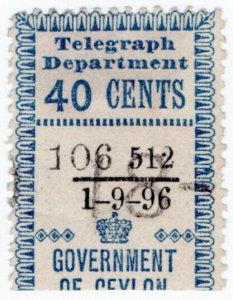 (I.B) Ceylon Telegraphs : Provisional 40c (1896)
