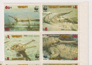 Bangladesh - 1990 - Sc 343a - WWF - Gavialis Gangeticus - Block of 4 - MNH