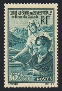 France B78,MNH.Michel 435. Student Relief,1938.Student and nurse.
