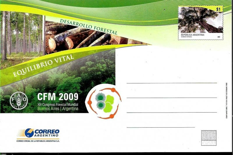 PS-201 ARGENTINA 2009 P STATIONARY FLORA TREES WORLD FORESTAL CONGRES UNUSED