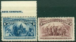 EDW1949SELL : USA 1893 Scott #230-31 Mint Never Hinged. Very Fresh. Catalog $70.