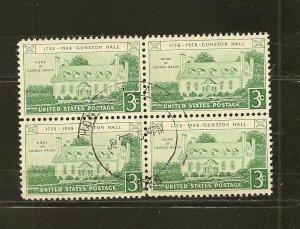 USA 1108 Gunston Hall Block of 4 Used