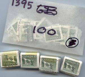 Canada Sc. #1395 Used (1800) F-VF Cat. $450. 1992 43c Olive Green Coil.